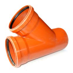 Тройник ПВХ для наружней канализации DN110x110/45 (Россия)