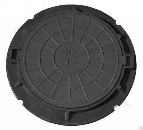 """Люк полимер-песчаный тип """"ЛМ"""" (А 1,5т) черный (750х576мм, H 53мм)"""