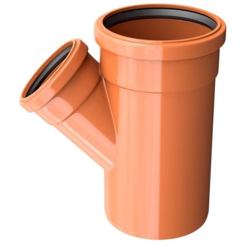 Тройник ПВХ для наружней канализации DN200x160/45