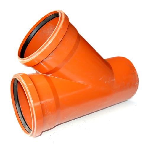 Тройник ПВХ для наружней канализации DN200x200/45